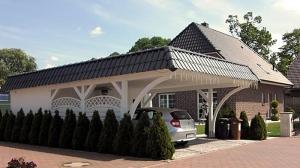 Holz Carport Weiss Flachdach